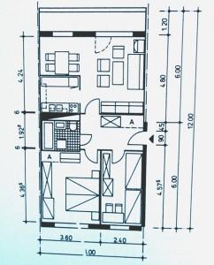 Standardisierter Wohnungsgrundriss im Bautyp WBS 70